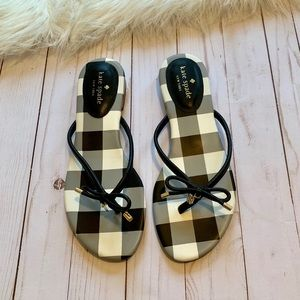 Kate Spade Mistic Flat Black and White Bow Sandal